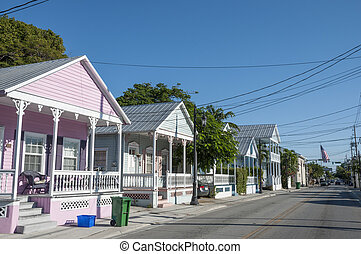 Colorful houses in Key West, Florida, USA