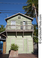 Green wooden house in Key West, Florida, USA