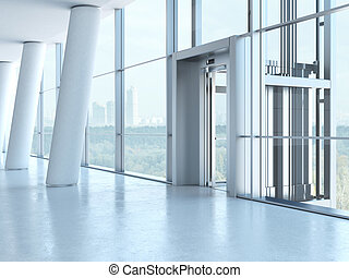 Transparent elevator in penthouse with columns. 3d render