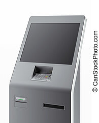 Modern atm machine isolated on a white background 3d render...