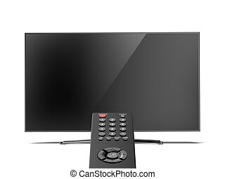 remote control and the TV screen isolated on a white...