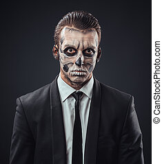blunt businessman with makeup skeleton - blunt businessman...