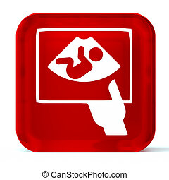 Ultrasound - Glass button icon with white health care sign...