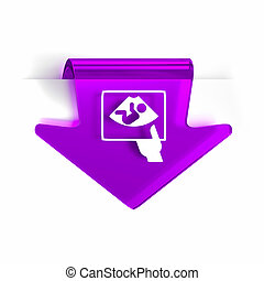Ultrasound - Glass arrow page marker icon with white health...