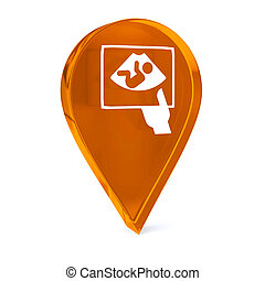 Ultrasound - Glass GPS marker icon with white health care...