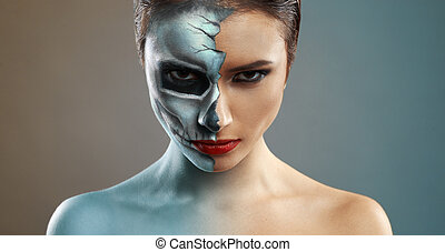 beautiful woman with makeup skeleton half - beautiful woman...