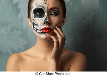 beautiful woman with makeup skeleton - beautiful woman with...