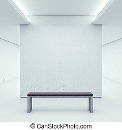 Gallery with white walls