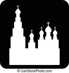 Orthodox church sign button on white background. Vector...