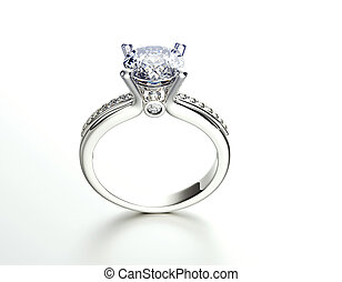 Ring with Diamond Fashion Jewelry background - Golden...