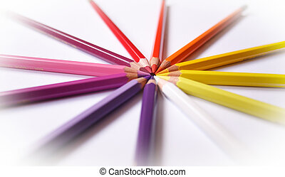 Wooden color 1 - Wooden color pencils isolated on a white...