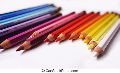 Wooden color 2 - Wooden color pencils isolated on a white...