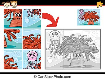 cartoon sea life jigsaw puzzle game - Cartoon Illustration...