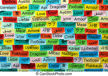 love multilingual word - LOVE Word Cloud printed on colorful...