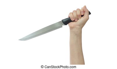 Deranged Female Hand With Big Knife - A womans hand entering...
