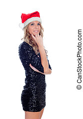 Pensive blond girl with Christamas hat isolated on a white...