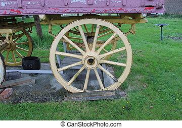 Gypsy caravan in field