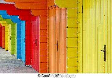 painted beach hut - colourful paint wooden Victorian beach...