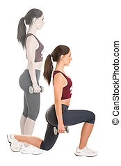 Woman Doing Lunges - Woman doing lunges isolated in a white...