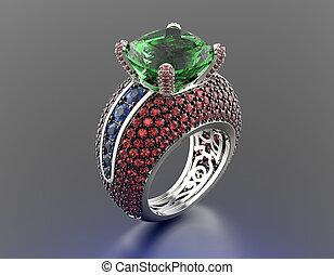 anillo, esmeralda, Joyas, Plano de fondo