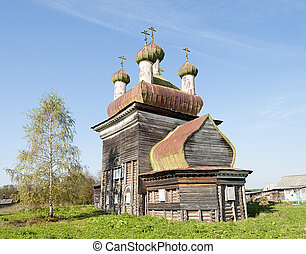 Ancient wooden church in Arkhangelo village, North Russia -...