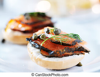 bagels with cream cheese and salmon