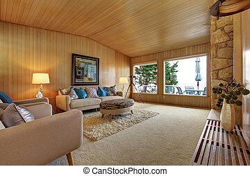 Beautiful house interior with wooden plank trim Cozy living...