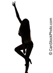 Silhouette of sexy dancing girl