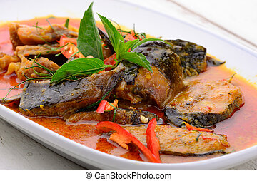 Spicy Fried Stir Catfish - Thai food name Spicy Fried Stir...