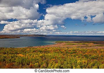 Lac, Arbres, automne, forêt,  croker, Automne, cap,  huron, paysage