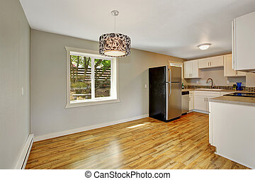 Furnished kitchen room with empty dining area - Empty house...