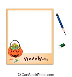 Pencil and Eraser with Jack O' Lantern Picture Frame - A...