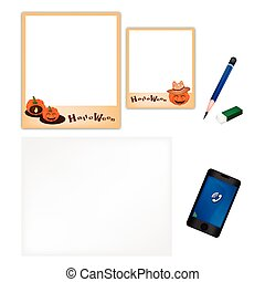Pencil and Halloween Pumpkin Frame with Blank Page - A...