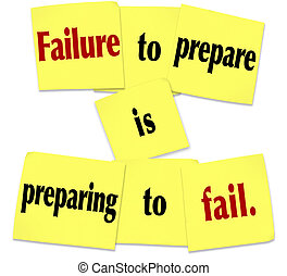 Failure to Prepare is Preparing to Fail Sticky Note Saying -...