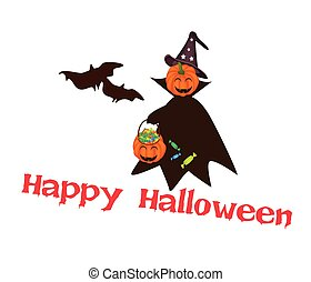 Halloween Pumpkin with Candy Basket with Word Happy Halloween