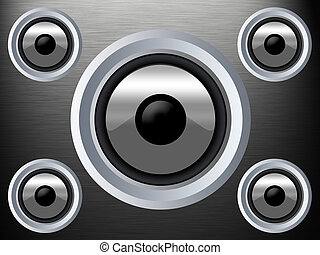 Speaker on a silber metal texture