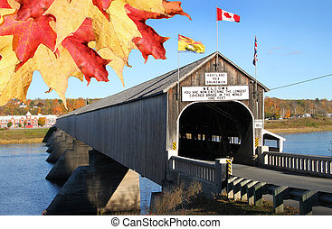 Hartland wooden covered bridge with leaves - The longest...