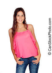 Attractive young girl with jeans - Atrractive young girl...