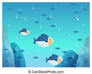 underground sea fish - illustration drawing of underground...