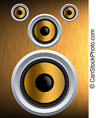 Speaker on a gold metal texture