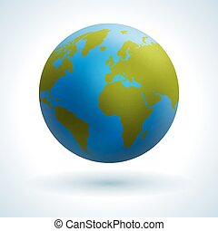 Globe icon. - Green map of the continents of the world....