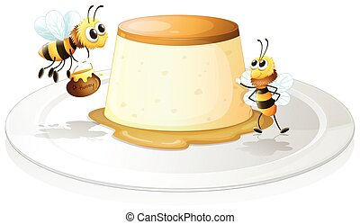 Custard and bees - Illustration of a custard with bees