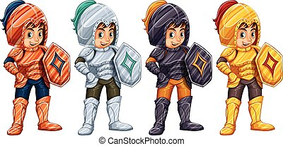 knights - Illustration of many knights with shields