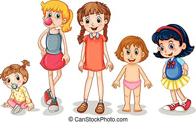 Young girls - Illustration of different stages of girls
