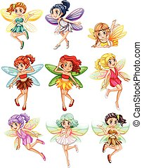 Fairies - Illustration of many fairies flying