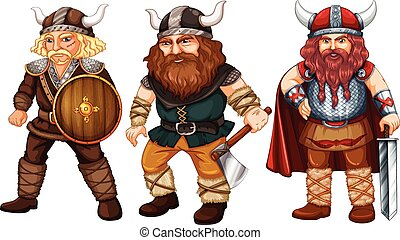 Vikings - Illustration of many male vikings with weapons