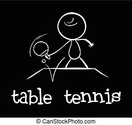 Table tennis - Illustration of a man playing table tennis