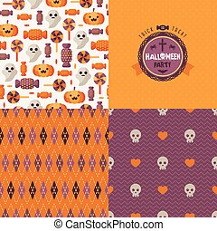 Seamless patterns of Halloween symbols and label.