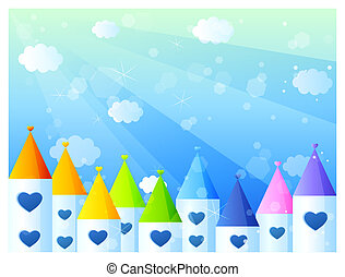 castle - color castles with heart in a blue background