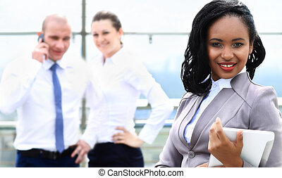 close up portrait of happy african american businesswoman